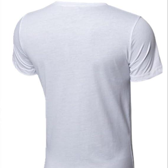 La Blusa Superior Delgada de la Manga Corta de la Camiseta de los Hombres de la Personalidad Ocasional de la Moda por la Vuelta: Amazon.es: Ropa y ...
