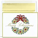 Merry Christmas Wreath Boxed Holiday Christmas Cards