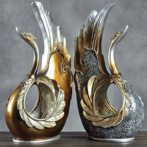 Home Decoration, Hand-Painted Resin Crafts swan Ornaments Sculpture Living Room Decorations Nordic Decorative Wine Cabinet Home (Color : A+b) by None (Image #3)