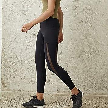 GSYJK Side Mesh Elastic Sport Leggings Red Tummy Control ...