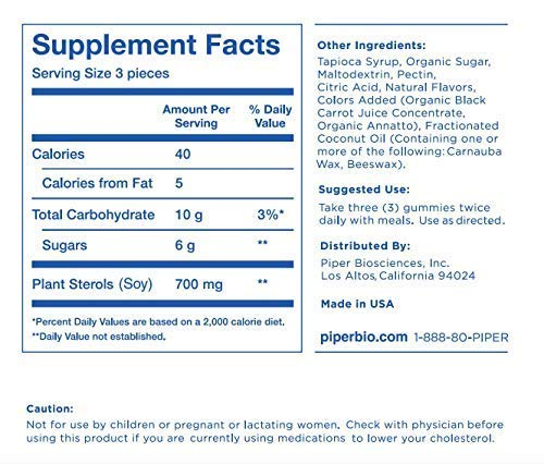 Plant Sterols Gummies Cholesterol Lowering* Product (Clinical Strength): 168 Gummies, 28 Day Supply by Piper Biosciences (Image #2)