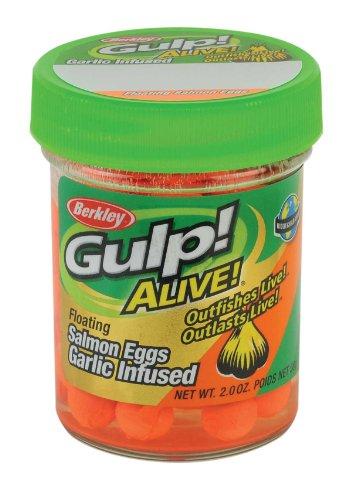 Colors 2 Oz Jar Fluorescent - Berkley Gulp Alive Floating Salmon Eggs Soft Bait, 2-Ounce, Garlic Scent, Fluorescent Orange