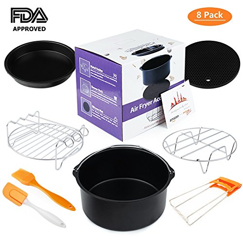Ary Fryer Accessories 8 pcs kit Deep Fryer Kitchen Appliances Universal for Phillips Gowise and Cozyna Fit all Standard Air Fryer 3.2-5.8QT By Bellagione Heat Seeking Iron