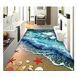 ZaH Thin 3D Area Rug Non-slip Doormat Carpet Printing Rug for Living Room, Bedroom, Kitchen, Bathroom (5×7-63″x90.6″, Wave)
