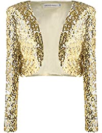 Women's S/M Fit Sequins Disco Ball Long Sleeve Slim Fit Cropped Jacket