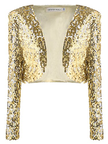 Anna-Kaci Womens Shiny Sequin Long Sleeve Glitter Cropped Blazer Bolero Shrug, Gold, -