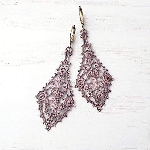 (Large Distressed Antiqued Pink Patina Shabby Filigree Earrings)