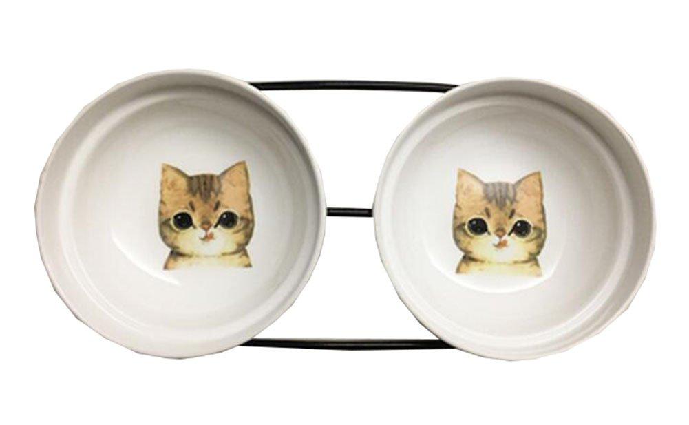 Little Double Bowls Set Ceramic Feeding Pot Pet Bowls Dog Bowls Cat Bowls for Food & Water S Size(C 03)
