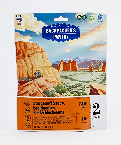 Backpacker's Pantry Stroganoff Sauce, Egg Noodles, Beef & Mushrooms, 2 Servings Per Pouch, Freeze Dried Food, 16 Grams of Protein
