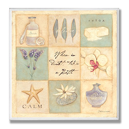 Stupell Home Décor When In Doubt Take A Bath Patchwork Bathroom Wall Plaque, 12 x 0.5 x 12, Proudly Made in USA