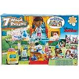 Disney Junior 7 Wood Jigsaw Puzzles in Storage Box