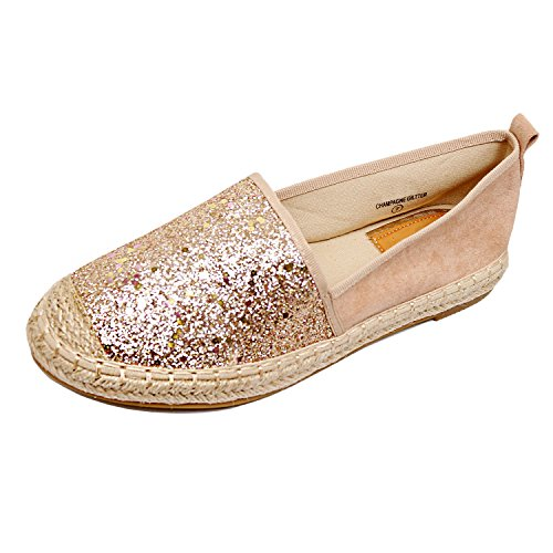 Flats Summer 17 Braided Loafer Comfortable Heart Glitter Espadrille Platform Walking On Bottom Gold Guilty Slip Womens CTqaHw7x1