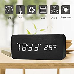 Wooden Digital Alarm Clock, SHEJIZE LED Desk Travel Mute Alarm Clock with Time Temperature and Sound Control (Black)