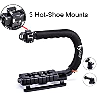 Zeadio Triple Hot-Shoe Mounts Handheld Stabilizer Handle Grip + 360 Degree Rotating Swivel Adapter + GoPro Adapter for GoPro HD Hero 5 Hero 4, Hero 3+, Hero 3, Hero 2 and Hero 1