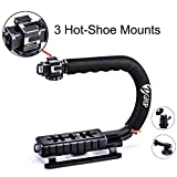 Zeadio Triple Hot-Shoe Mounts Handheld Stabilizer Handle Grip + 360 Degree Rotating Swivel Adapter + GoPro Adapter for GoPro HD Hero 5 Hero 4 - Hero 3+ - Hero 3 - Hero 2 and Hero 1