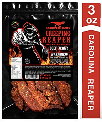 JURASSIC JERKY'S 'CREEPING REAPER' Carolina Reaper Beef Jerky (1)-3oz Bag The Reaper is the HOTTEST Pepper in the world! Sweet with Heat~