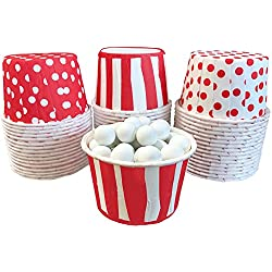 Red and White Candy Nut Mini Baking Paper Treat Cups Stripe Polka Dot - 48 Pack