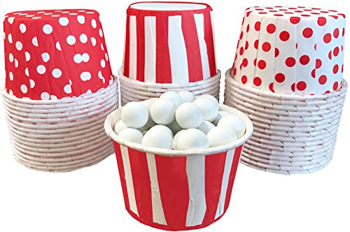 Red and White Candy Nut Mini Baking Paper Treat Cups Stripe Polka Dot - 48 Pack]()