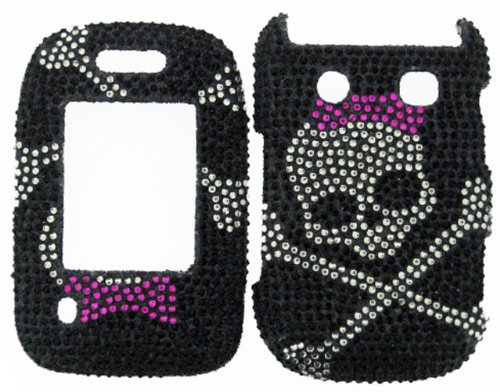 FULL DIAMOND CRYSTAL STONES COVER CASE FOR BLACKBERRY STYLE 9670 SKULL ON (Blackberry Rubber Faceplates)
