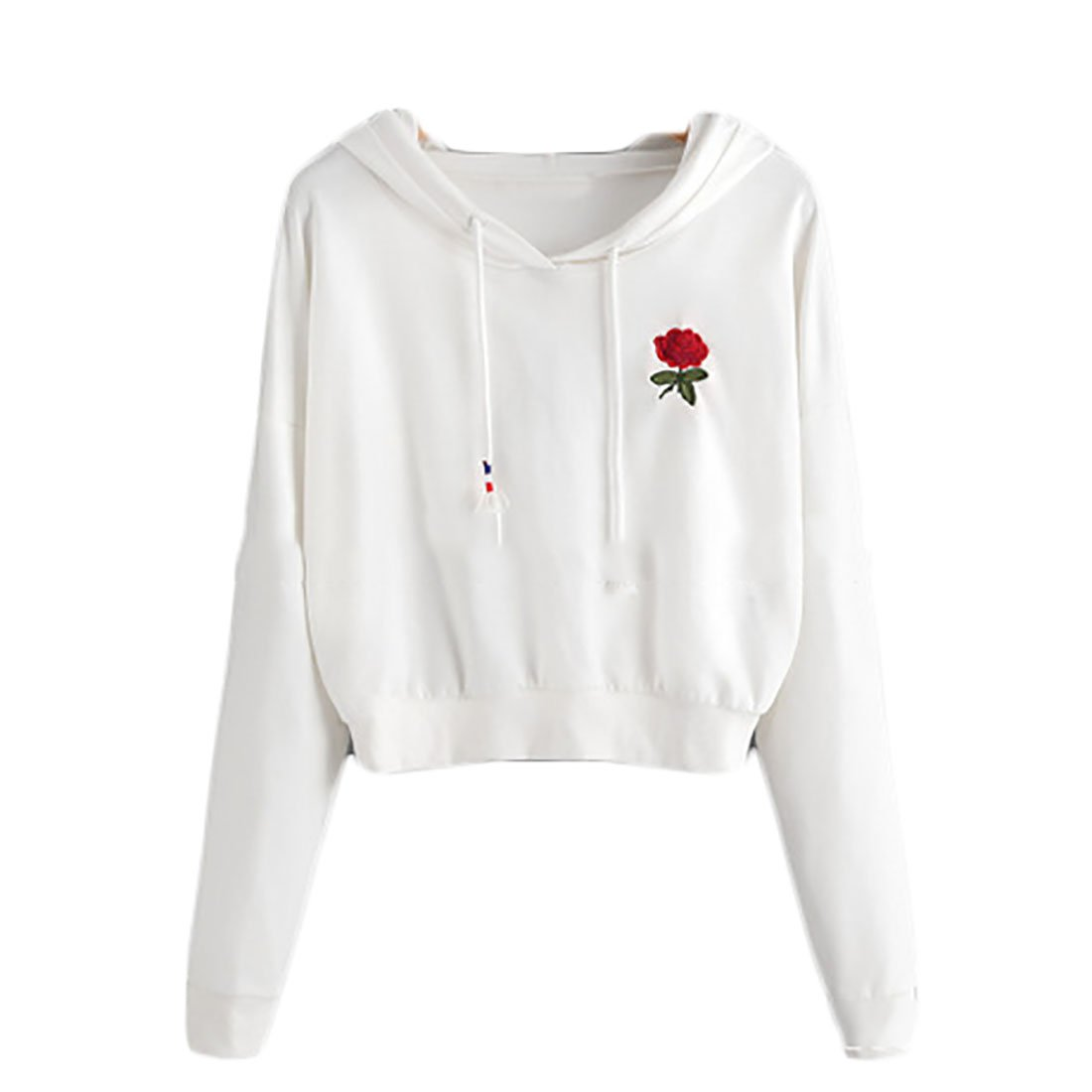 JXG Womens Autumn Embroidery Crop Tops Hoodie Pullover Sweatshirt Outwear White US L