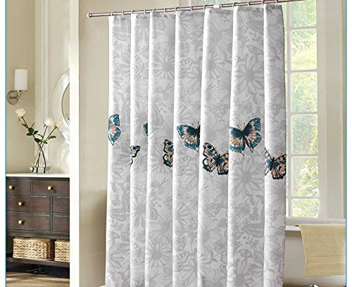 BROSHAN White and Grey Textured Shower Curtain,Flower and Butterfly Spring Nature Garden Theme Art Print Bath Curtain,Polyester Waterproof Fabric Bathroom Decor Set with Hooks,72x72 Inch