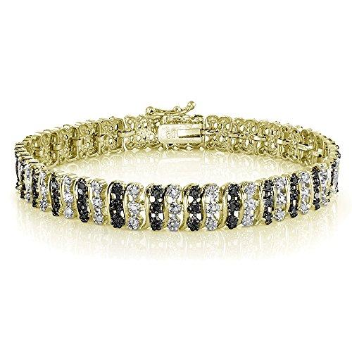 Doré 1carat avec diamant noir et bracelet de tennis de diamant blanc motif s