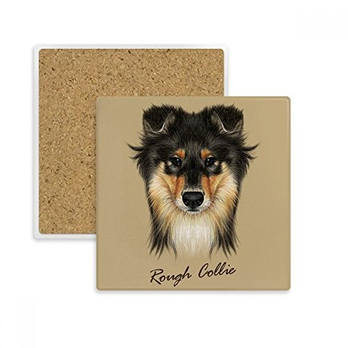 Long-haired Rough Collie Pet Animal Square Coaster Cup Mug Holder Absorbent Stone for Drinks 2pcs Gift (Rough Haired Collie)