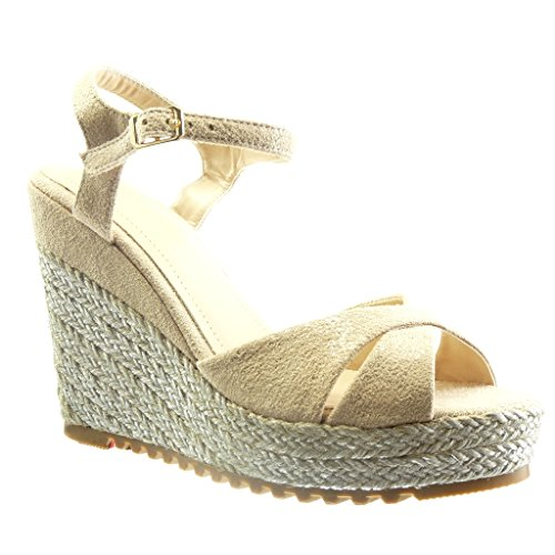 Angkorly Chaussure Mode Sandale Espadrille Plateforme Femme Corde Talon compens