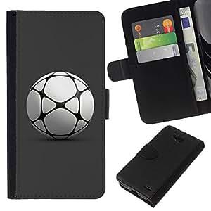 All Phone Most Case / Oferta Especial Cáscara Funda de cuero Monedero Cubierta de proteccion Caso / Wallet Case for LG OPTIMUS L90 // Football Soccer Ball Play Game Gray