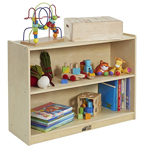 - ECR4Kids Birch 2 Shelf Storage Cabinet with Back, Wood Book Shelf Organizer/Toy Storage for Kids, Natural