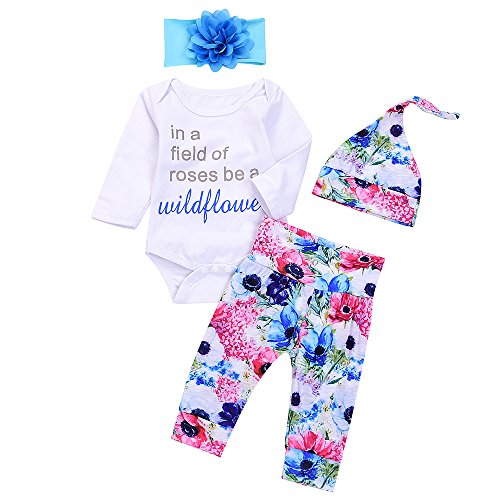 4Pcs Infant Baby Boy Girls Letters Long Sleeve Romper+Flower Pant+Hat+Headband Warm Clothes (6-12Months, Floral)