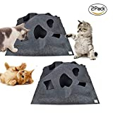 Pet Toy,Cat Activity Play Mat,Collapsible Pet Rug Training Scratching Grooming Bed Mat - 2 Pieces