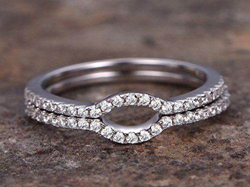 (2pcs wedding ring set,925 sterling silver curved wedding band,anniversary ring.1.2mm thin width.stacking matching band,white gold plated,Man Made diamond CZ ring,any size)