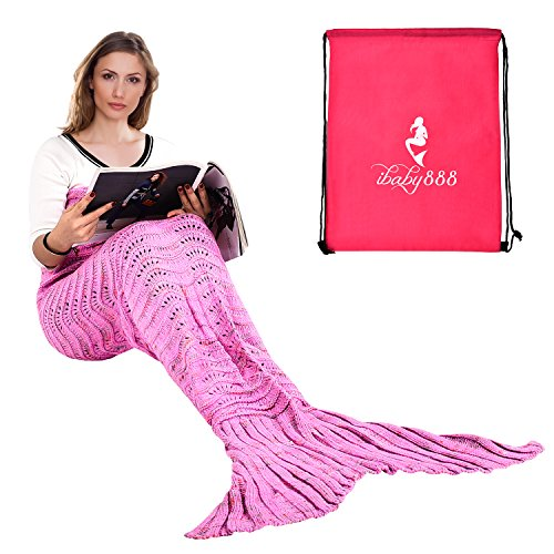 Pirate Mermaid Costumes (Handmade Mermaid Tail Blanket, iBaby888 All Seasons Warm Knitted Bed Blanket Sofa Quilt Living Room Sleeping Bag for Adults, Wave Pattern, 70.9