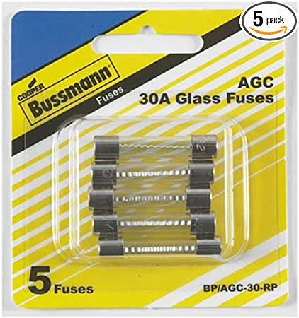Amazon Com Bussmann Bp Agc 30 Rp Agc Automotive Glass Fuse 1 4 X 11 4 30 Amp 5 Pack Automotive
