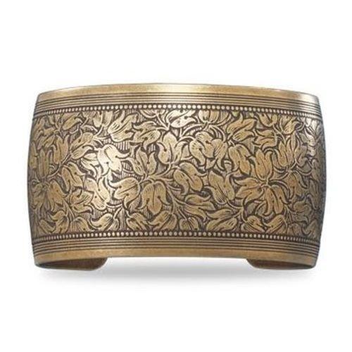 Oxidized Brass Cuff with Floral (Brass Cuff Bracelet)