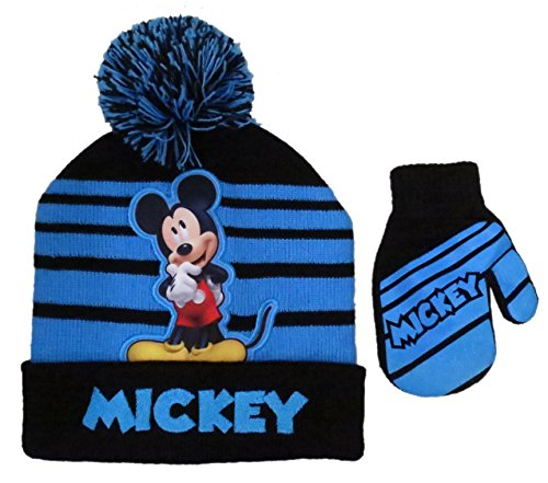 Disney Mickey Mouse Striped Winter Beanie Hat and Mitten Set - Size Boys (Boys Hat Glove)