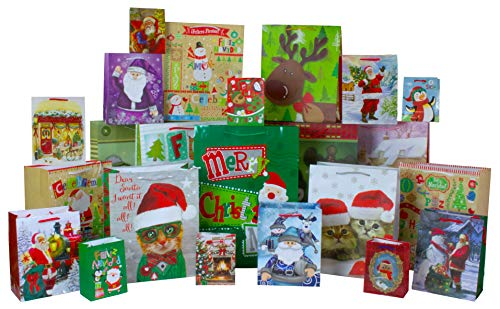 Christmas Print Gift Bags 24 Count, Assortment of 6 Each: X-Large, Large, Medium, and Small by Iconikal
