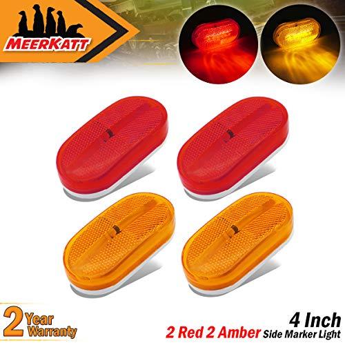 (Meerkatt (Pack of 4) Oblong 2 Amber & 2 Red Side Marker Trailer Lights Fender Rectangle Bulb Clearance Lamp Dustproof for Truck Lorry Pickup RV Caravan SUV Van Bus w/Snap-on)