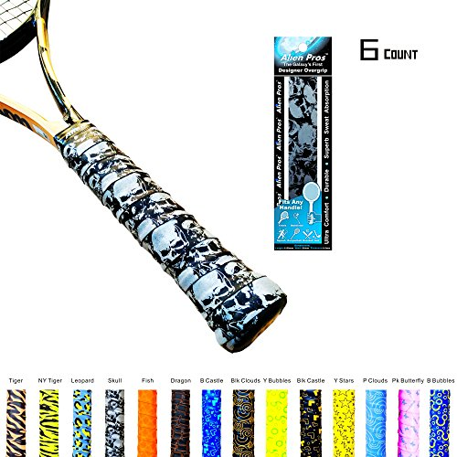 Alien Pros X-Tac Tennis Overgrip Tape perfect for your tennis racket, racquetball grip, squash racquet and more. (Skull, 6-Pack)