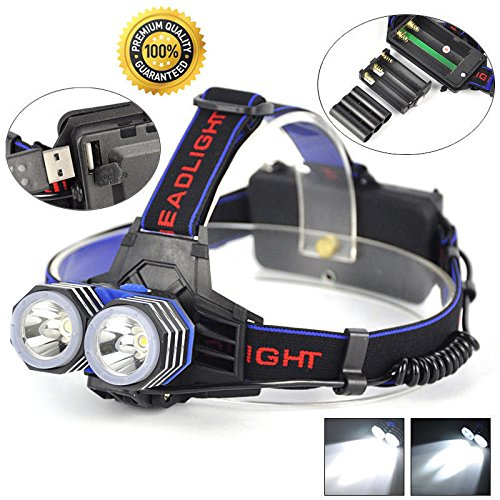 WALLER PAA 11000 Lumens LED 2X XML T6 Headlamp Headlight Flashlight Head Torch AAA/AA/18650