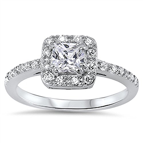 Double Accent Sterling Silver Princess Cut Cubic Zirconia Solitaire Engagement Ring 9MM (Size 5 to 10), - Princess Accents