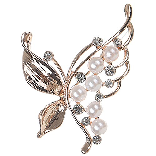 Butterfly Brooch Pin Vintage Style Delicate Simulate Pearl Rose Gold Plated Cocktail Dress Gift by menoa