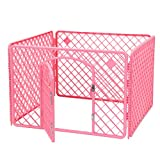 4-Panel (Approx 24-inch Height) Indoor/Outdoor Plastic Dog Puppy Pet Fence Playpen Play and Exercise Pen Kennel Crate Cage, Pink - LIVINGbasics