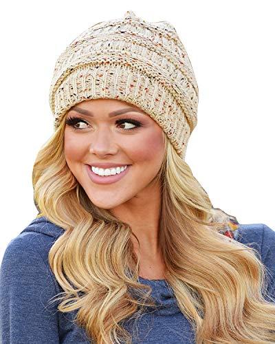 Yidarton Unisex Beanie Trendy Warm Winter Hats Chunky Soft Stretch Cable Knit Beanie(one Size