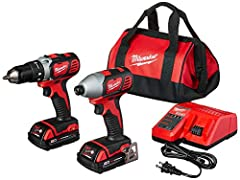 M18 COMBO CMPT DR/IMP DR/2 CMPT BAT. Milwaukee 2691-22 M18 lithium-ion cordless 2-tool combo kit with carrying case . The Milwaukee M18 2-tool combo kit includes the Milwaukee M18 lithium-ion 1/2-inch compact drill/driver, M18 lithium-ion 1/4...
