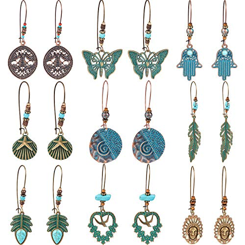 9 Pairs Vintage Bohemian Dangle Earrings Pendant Earrings Mental Geometric Hollow Pendant Earrings Set for Women and Girls (Style 2)