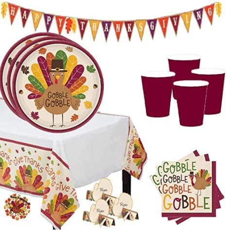 and Pin Napkins Happy Thanksgiving Banner Cups Tablecover Happy Thanksgiving Autumn and Fall Party Supplies Pack For 18 Guests Perfect For Friendsgiving With Plates