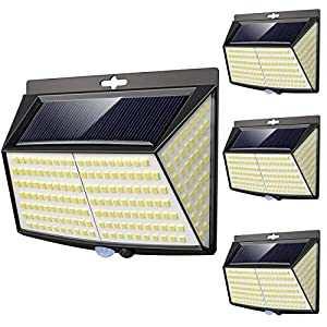 Luce Solare LED Esterno, [ 4 Pezzi 228 LED] Faretti Solari a Led da Esterno Lampada da Esterno con Sensore di Movimento IP65 Impermeabile 3 Modalità per Giardino, Parete Wireless Risparmio Energetico 3 spesavip