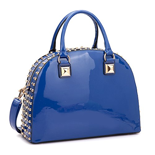 Structured Purse Leather Bag Designer Dasein Satchel Patent Shoulder 2858 Bag Rhinstone Handbag blue Domed 0qfRqn4w